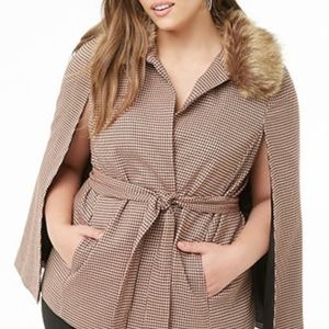 NWT Forever 21 Houndstooth Cape Jacket Size S